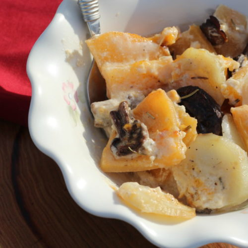 Low Carb Au Gratin Potatoes with Rutabagas