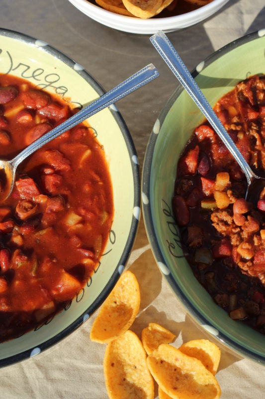 Two Crockpot Hybrid Chili Recipe to Feed Vegetarians and Meat-Eaters both vegetarian and meat bowls. Cooking tips for a split table. #cookingtips #dinnerrecipes #crockpot #vegetarian #dinnertime #soup #souprecipes #homemade #homeaderecipes #cooking #hybridrecipe #hybrid #familymeal #splittable #juliehoagwriter