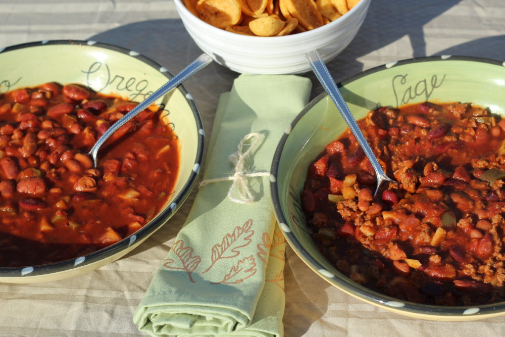 Two Crockpot Hybrid Chili Recipe to Feed Vegetarians and Meat-Eaters. two crockpot hybrid chili recipe feed vegetarians meat eaters too with Cooking tips for a split table. #cookingtips #dinnerrecipes #crockpot #vegetarian #dinnertime #soup #souprecipes #homemade #homeaderecipes #cooking #hybridrecipe #hybrid #familymeal #splittable #juliehoagwriter