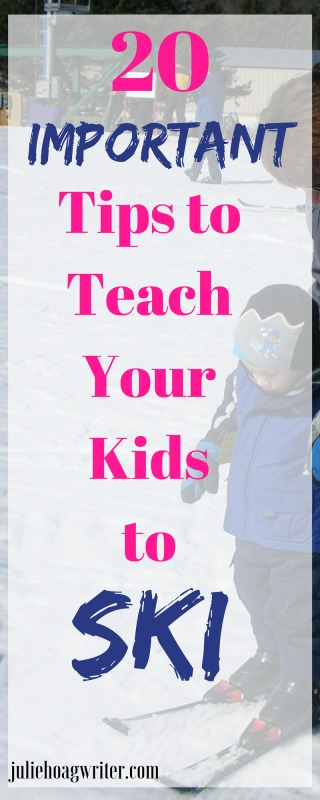 20 Important Tips to Teach Your Kids to ski. Downhill skiing tips from an experienced parent who has taught kids to ski. Use these tips to teach your kids to ski without having to pay for expensive lessons. Family fun on the slopes is the family goal. Read my skiing advice for beginner tips. Skiing for the first time tips. #skiing #teachingkidstoski #learntoski #tipsforlearningtoski #downhillskiingtips #parents #skiingforbeginnertips #skiingforbeginnersfirsttime #juliehoagwriter