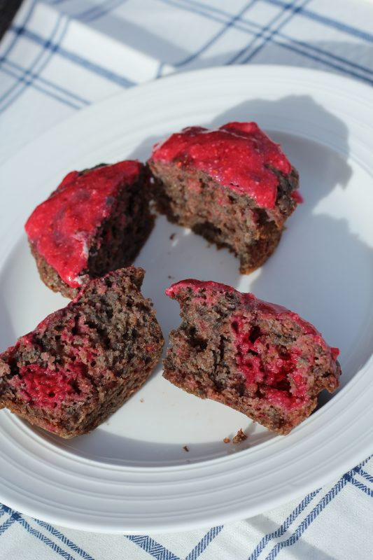 Chocolate Raspberry Muffins Made With Whole Wheat Flour recipe for breakfast, brunch, snack, or dessert. A moist muffin recipe made with Nutella, 100% whole wheat flour, raspberries, applesacue. #breakfastrecipes #brunch #recipeideas #muffin