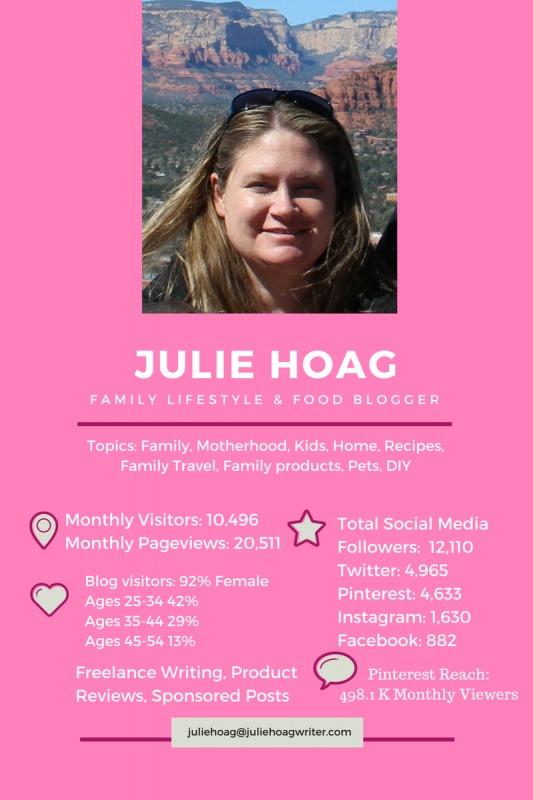 Media Kit Julie Hoag Writer Family LIfestyle and Food Blogger.