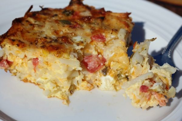 Spicy Comfort Food Baked Hash Brown Casserole Meatless piece egg bake recipe for breakfast