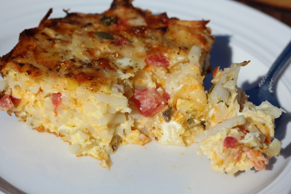 Spicy Comfort Food Baked Hash Brown Casserole Meatless piece egg bake recipe for breakfast #hashbrowncasserole #mealprep #cookingtips #hashbrownrecipes #hashbrownbreakfastcasserole #cheesyhashbrowncasserole #eggbake #eggbakecasserole #eggbakerecipes #eggbakewithhashbrowns #breakfastrecipes #brunchideas #juliehoagwriter #recipeideas #hybridrecipe