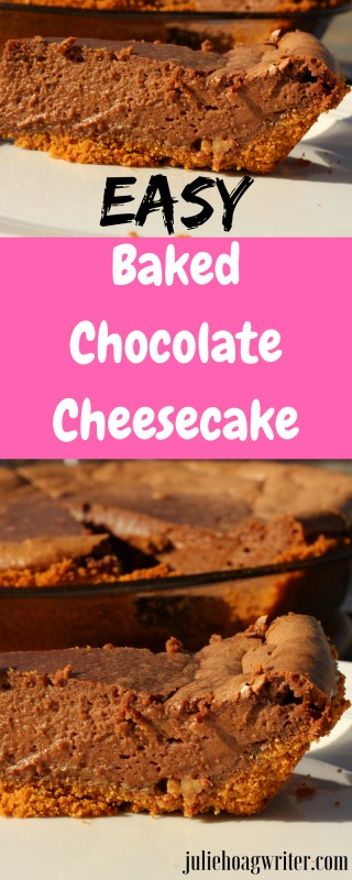 Easy Baked Chocolate Cheesecake dessert recipe. An easy cheesecake recipe for a treat at a party, holiday, or any day at home with your family. This cheesecake recipe is easy to make and delicious. Very chocolaty with a tasty nutty graham cracker crust. #cheesecake #chocolatecheesecake #dessertrecipes #desserts #treat #sweettreats #partyfood #desserttable #easyrecipes #nutella #holidaybaking #baking #recipeideas #chocolaterecipes #easydesserts #yummy #tasty #juliehoagwriter #foodblog