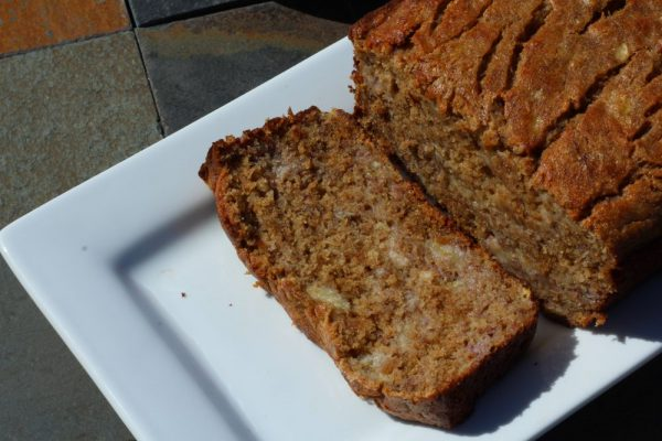 Healthier Moist Whole Wheat Banana Bread Recipe snack loaf and slice of bread, Great for breakfast, brunch, snacks, or dessert. Homemade bread made with ripe bananas and apple juice. #homemaderecipe #breadrecipe #bananabread #wholewheat #bread