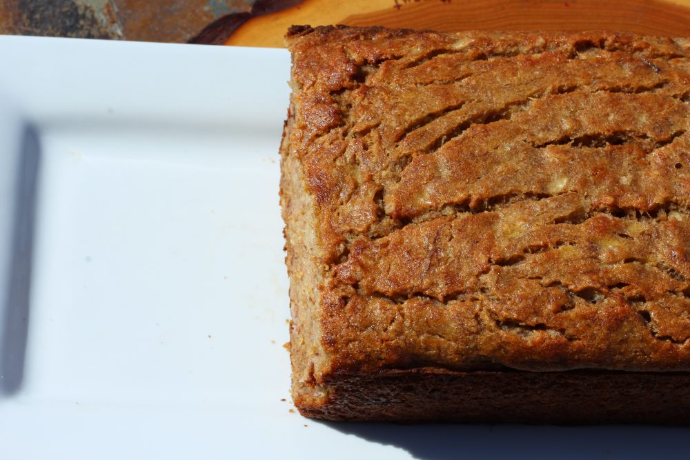 Healthier Moist Whole Wheat Banana Bread Recipe loaf of bread, a great homemade recipe with fruit for breakast, brunch, snack, or dessert. Less sugar than traditional banana bread recipes. Snack bread recipe for healthy living. #homemade #homemaderecipes #bread #breadrecipe #breakfastlover #wholewheat #healthyrecipe #wholegrain