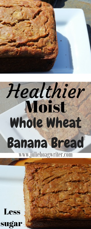 Healthier Moist Whole Wheat Banana Bread recipe made with whole wheat flour for breakfast, brunch, snack, healthy dessert. Whole grain whole wheat flour makes a classic recipe more healthy. #bananabread #homemadebread #homemaderecipes #bread #breadrecipes #banana #breakfastrecipes #brunch #snack #dessertrecipes #healthydessert #healthyrecipes #healthyliving #easyrecipe #recipeideas #easyrecipes #breadbakers #juliehoagwriter