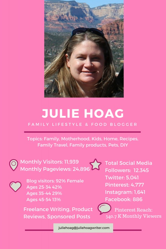 Media Kit Julie Hoag Writer Family LIfestyle and Food Blogger. Motherhood, Kids, Home, Recipes, Family Travel, Family products, pets, DIY.
