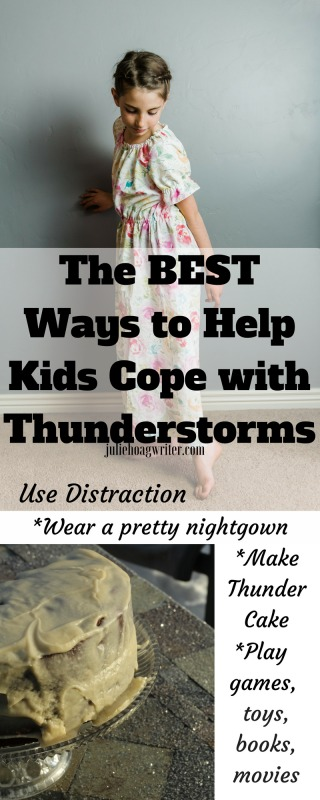 The BEST Ways to Help Kids Cope with Thunderstorms use distraction. Tips for overcoming your child's fears and worries about thunderstorms. Fear of thunderstormsis a common childhood fear. Try these ideas to help with anxiety in children. #childhood #fearofthunderstorms #anxiety #parenthood #forkids #forthekids #motherhood #parentingtips #thunderstorms #mothers #moms #momlife #mamalife #struggles #storm #help #thundercake #chocolatecake #juliehoagwriter
