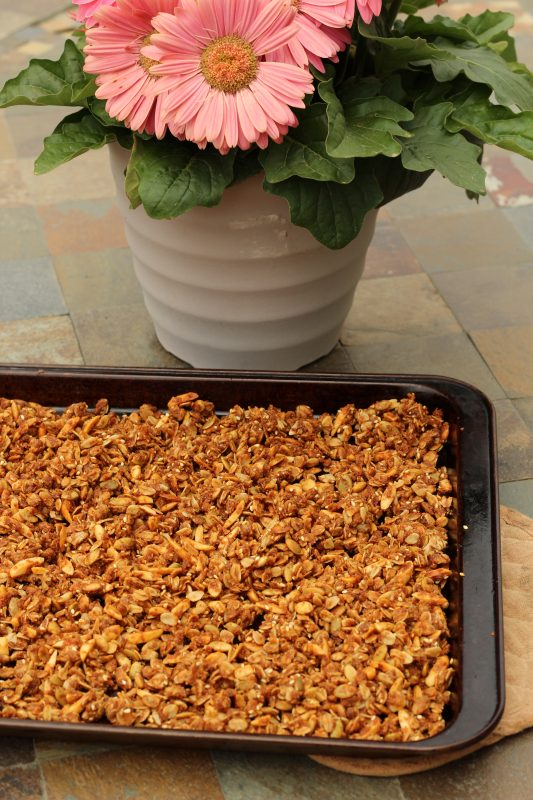 Easy Homemade Granola Recipe with four seeds and nuts baked. A crunchy granola with oats, sunflower seeds, wheat germ, sesame seeds, pepitas, almonds, whole wheat floor whole grain, honey, olive oil, coconut oil #granola #homemadegranola