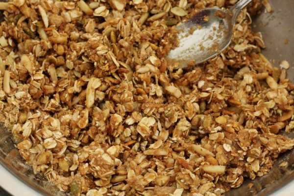 Easy Homemade Granola Recipe with four seeds dry ingredients and wet mixed