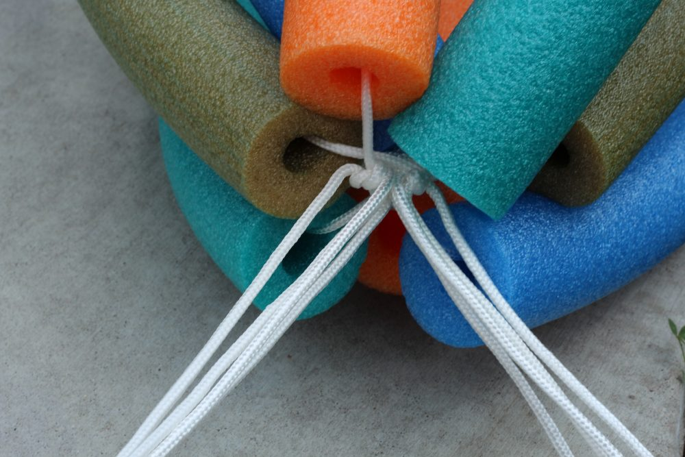 DIY Pool Noodle Toy and Floaty craft easy to make and fun to play with and float in when swimming.