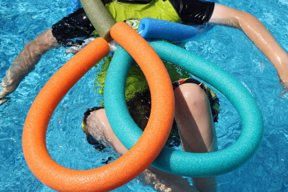 DIY Pool Floaty Toy Made with Pool Noodles It falls apart during play so slip it back