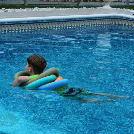 DIY Pool Floaty Toy Made with Pool Noodles Swim about in it like an inner tube.