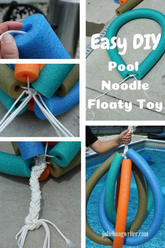 DIY Pool Floaty Toy Made with Pool Noodles Use it as a chuck it toy or stack noodle rings to make inner tube shape to float in