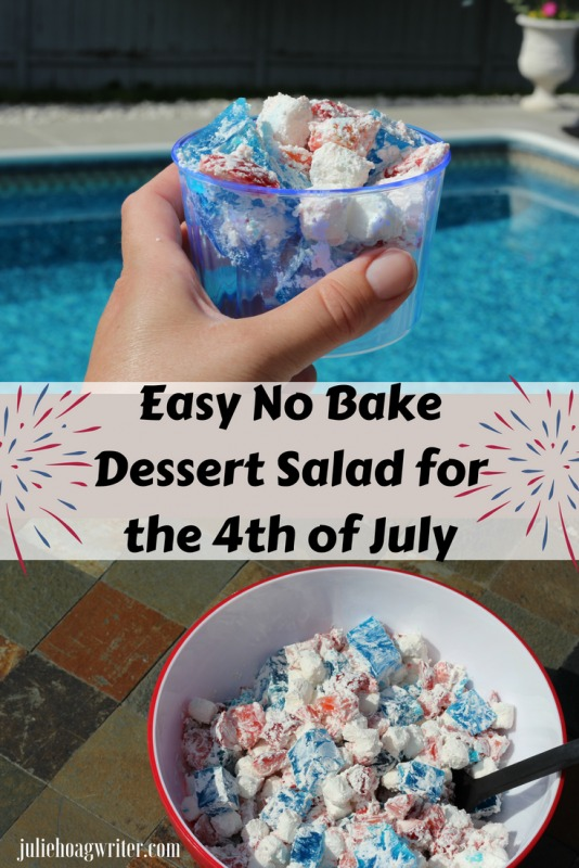 Easy No Bake Dessert Salad for the 4th of July an easy five ingredient dessert recipe for summer and parties. A simple dessert recipe for a summer treat at potlucks, picnics, and pool parties. Only five ingredients to make it and it is low in fat and low in sugar. #fourthofjuly #dessertrecipes #desserttable #potluck #dessertsalad #dessert #easyrecipes #easyrecipe #summer #summervibes #summerrecipes #4thofjuly #jello #sweettreats #sweet #sweets #strawberries #partyfood #yummy