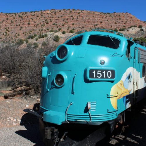Refurbished train car with bald eagle at the Verde Canyon Railroad. Visit Arizona. A great family vacation destination.