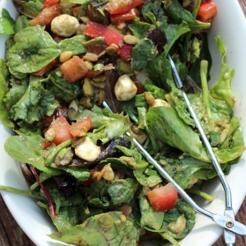 Spring Mix Greens Salad Recipe with Balsamic Fresh Mozzarella and Pepitas