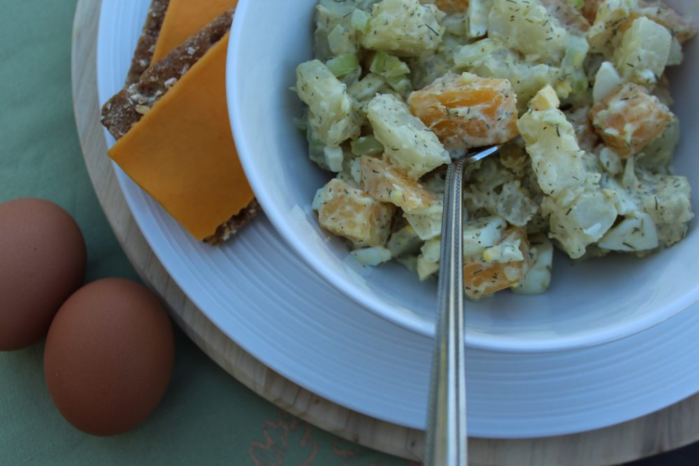 Dill Rutabaga Spicy Mustard Potato Salad reduced carbs side dish for lunch or dinner. Serve this tasty lower carbohydrate potato salad warm or chilled. #potatosalad #vegetable #sidedish #picnic #potluck #dinnerrecipes #veggielove #veggies #potato #rutabaga