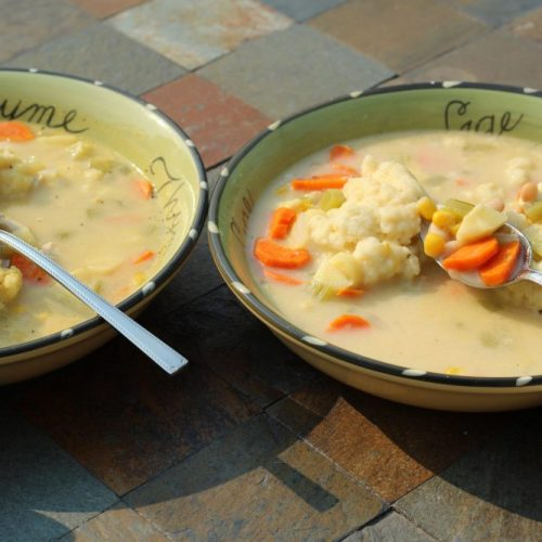Hybrid Recipe Potato Dumpling Soup for Vegetarians and Meat-Lovers: 2 Crockpot Recipe
