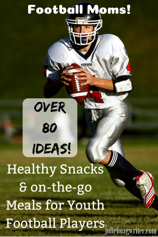 Football Moms! Over 80 ideas for healthy snacks and on the go meals for youth and high school football players. Quick meals and snacks for the hangry youth football player after practice and games. #footballmom #youthfootball #footballplayer #youthsports #quickmeals #snacks #snackideas #youthfootballplayers