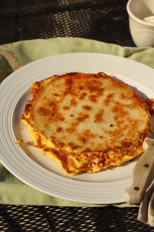 Breakfast Quesadilla recipe cooked breakfast quesadilla without toppings uncut