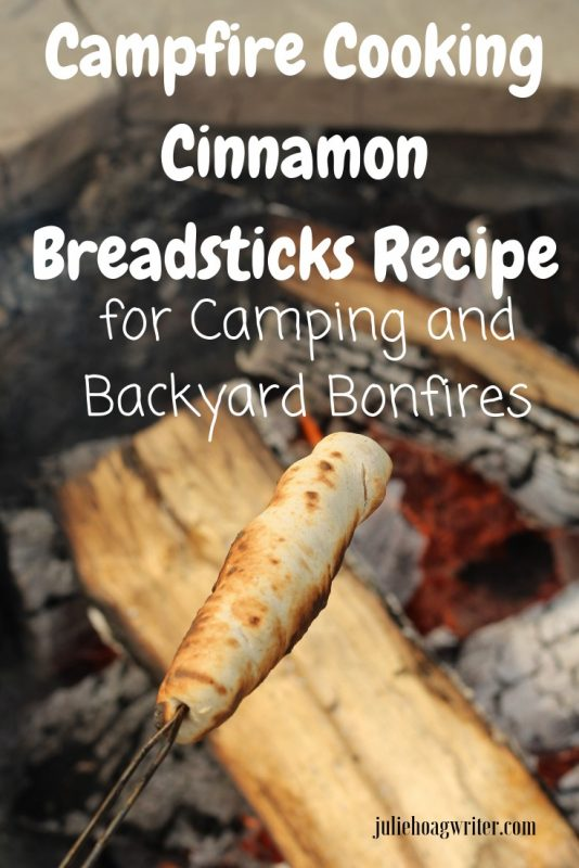 Campfire Cooking Cinnamon Breadsticks Recipe for Camping and Backyard Bonfires Open fire cooking on a roasting stick.