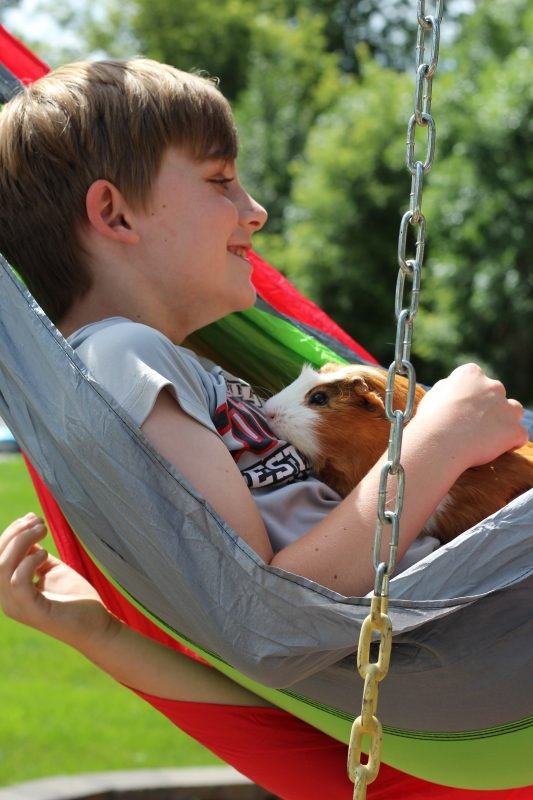 Portable Kids Hammock for home, backyard, and camping. Hammock child and guinea pig snuggling and relaxing together. A great spot for relaxation, reading, bonding with a pet, taking a nap, or listening to music. A self care moment for kids. #selfcare #kids #hammocks #backyard #relaxation