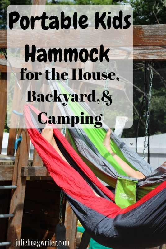 Portable Kids Hammock for the House, Backyard, and Camping. Perfect idea for kids to get some self-care time reading at home, relaxing, listening to music, hanging with friends in the backyard. Great camping hammock. #hammock #campinghammock #relaxation #selfcaretips #selfcare #readingcorner #holidaygfits #kids #kidsactivities #children #teenage #backyardideas #kidsrooms #juliehoagwriter