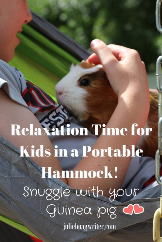 Portable Kids Hammock for the House, Backyard, and Camping. Snuggle with your guinea pig, read a book, rest, listen to music in a hammock. Self care ideas for kids. #selfcare #hammocks #relaxation #kids
