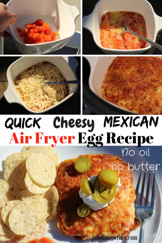 Quick Cheesy Mexican Air Fryer Egg recipe vegetarian main dish no butter no oil. An easy recipe with an easy meal prep. Only five ingredients needed.