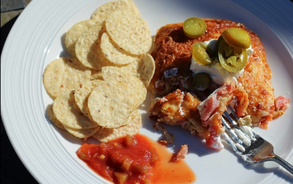 Quick Cheesy Mexican Air Fryer egg recipe with tortilla chips and salsa