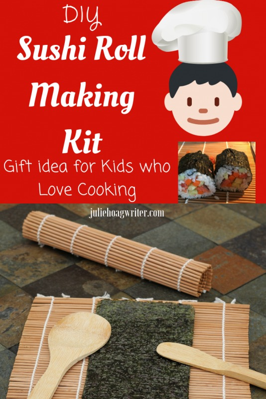 DIY Sushi Roll Making Kit for kids who love cooking and culinary arts holiday gift basket. Holiday gift idea for kids. Cooking with kids.