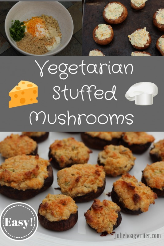 Easy Vegetarian Stuffed Mushrooms with 3 cheeses and jalapenos appetizer recipe. Meatless finger food for parties, holiday entertaining, Christmas parties, and holiday parties. An easy recipe to make at home.