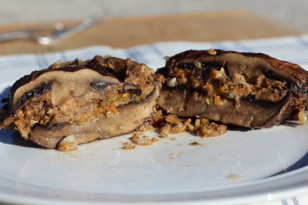 Grilled portabella mushroom stuffed side dish or vegetarian main dish