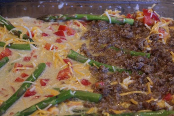 Low carb quiche add sausage to one third of the pan for a meat portion and meatless portion