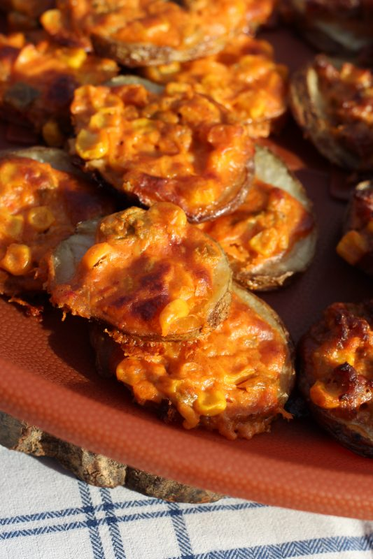 Potato Slices Topped with Spicy Cheese and Sweet Corn Appetizer Recipe hybrid. Party finger food recipes. Make some vegetarian and some with meat to please all the party-goers.