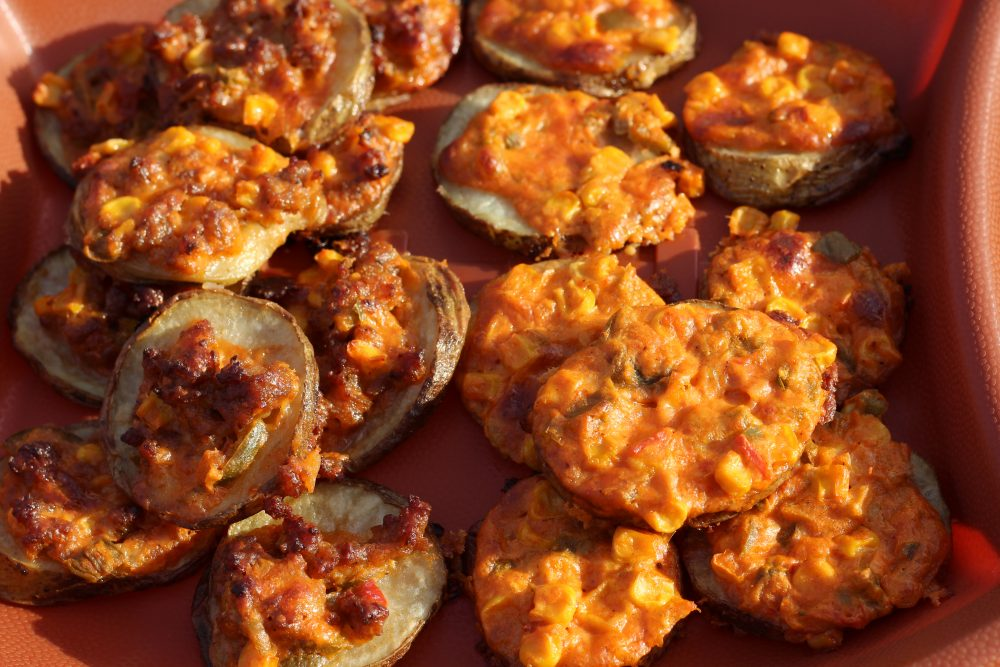 Potato Slices Topped with Spicy Cheese and Sweet Corn Appetizer Recipe party finger food