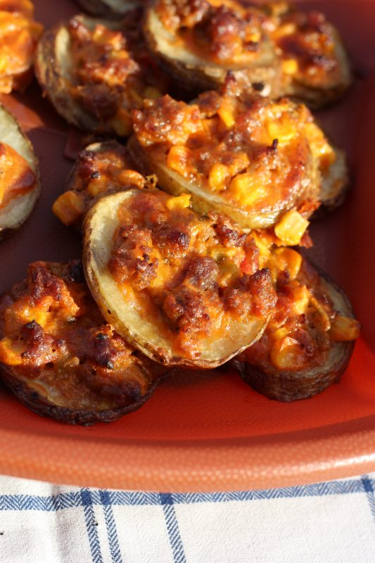 Potato Slices Topped with Spicy Cheese and Sweet Corn Appetizer Recipe sausage pieces. Appetizer recipes to please both vegetarians and meat-eaters. Party finger food for the Super Bowl, holiday parties, as a side dish.