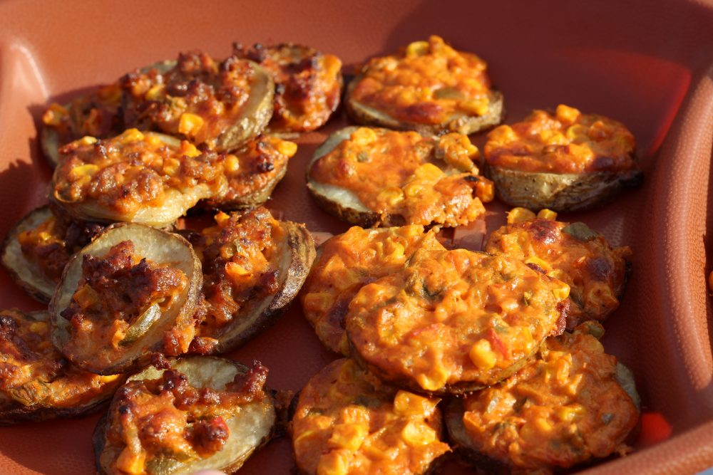 Potato Slices Topped with Spicy Cheese and Sweet Corn Appetizer Recipe topped potato bites. party finger food recipes.