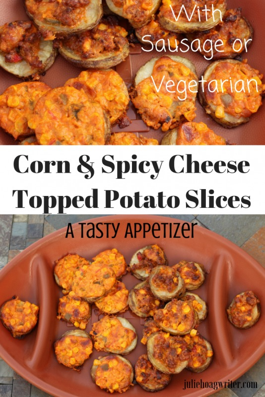 Potato Slices Topped with Spicy Cheese and Sweet Corn appetizer recipe. A party finger food that can be made half with sausage and half vegetarian. An appetizer recipes for the Super Bowl, football parties, holidays. A hearty tasty loaded potato bites recipe.