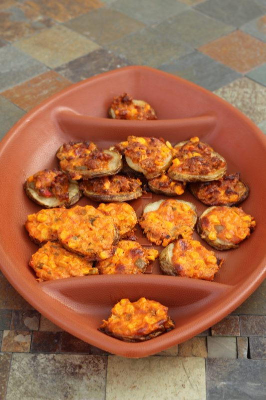 Potato Slices Topped with Spicy Cheese and Sweet Corn Appetizer Recipe for a party. Party finger food loaded potato bites. Super Bowl party food.