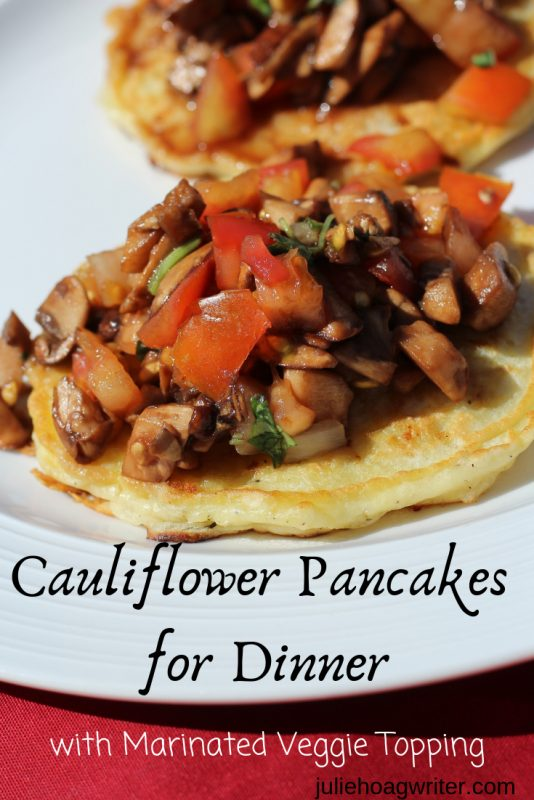 Mozzarella Cauliflower Pancakes for Dinner with Marinated Balsamic Vinegar Topping side dish or appetizer