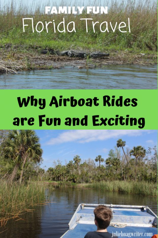 Why Airboat Rides in Florida are Fun and Exciting Family vacation excursion to see alligators. Family vacation ideas in the United States. Airboat excursion to view wildlife in a river estuary system.