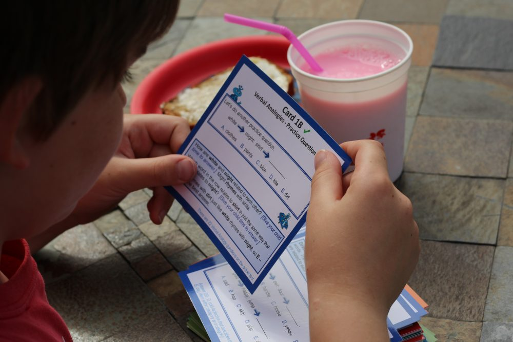 Standardized test practice for Elementary School aged kids flash cards and test prep reading the cards