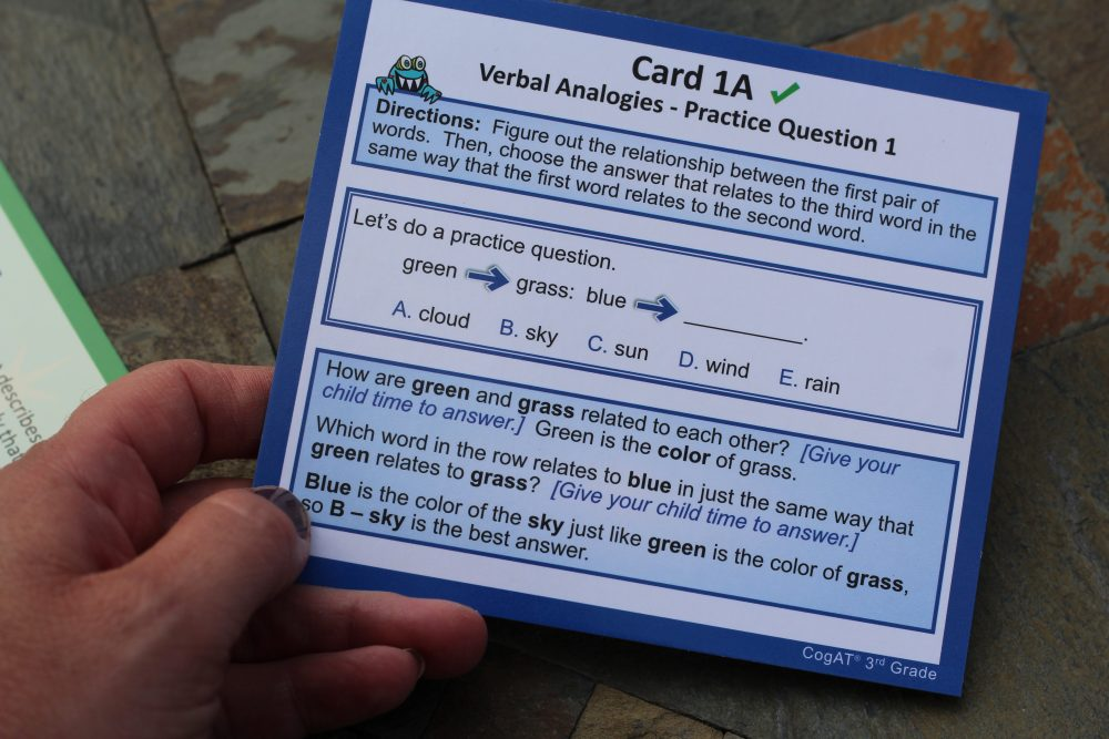 Standardized test practice for Elementary School aged kids flash cards and test prep sample card