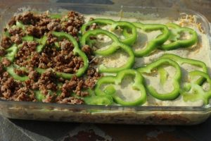 Adding the green peppers and sausage to the Sausage and Egg Casserole Veggie Loaded, Low Carbohydrate Recipe