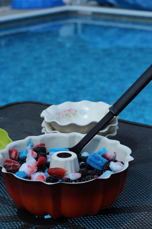 Berry bomb pop fruit salad for the Fourth of July pool party