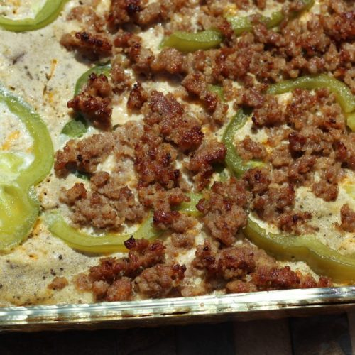 Sausage and Egg Casserole Veggie Loaded, Low Carbohydrate Recipe